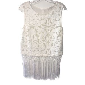 Miss Me Sleeveless Button Down Back Fringed Blouse